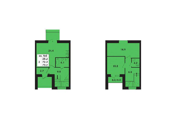 Планировка Двухкомнатная квартира площадью 73.2 кв.м в ЖК «Ропшинский квартал(руки)»