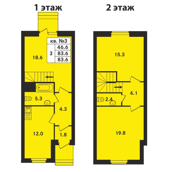 Планировка Трёхкомнатная квартира площадью 78.7 кв.м в ЖК «Ропшинский квартал»
