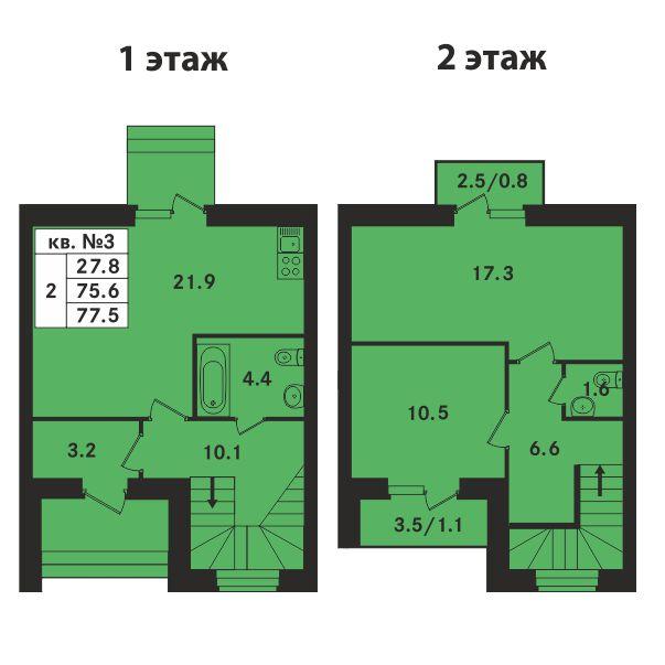 Планировка Двухкомнатная квартира площадью 77 кв.м в ЖК «Ропшинский квартал»