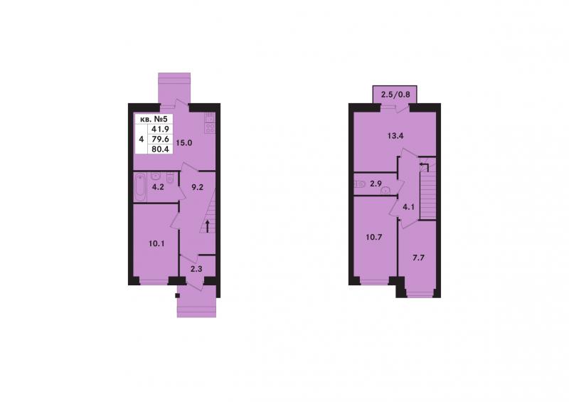 Планировка Четырёхкомнатная квартира площадью 80.4 кв.м в ЖК «Ропшинский квартал(руки)»