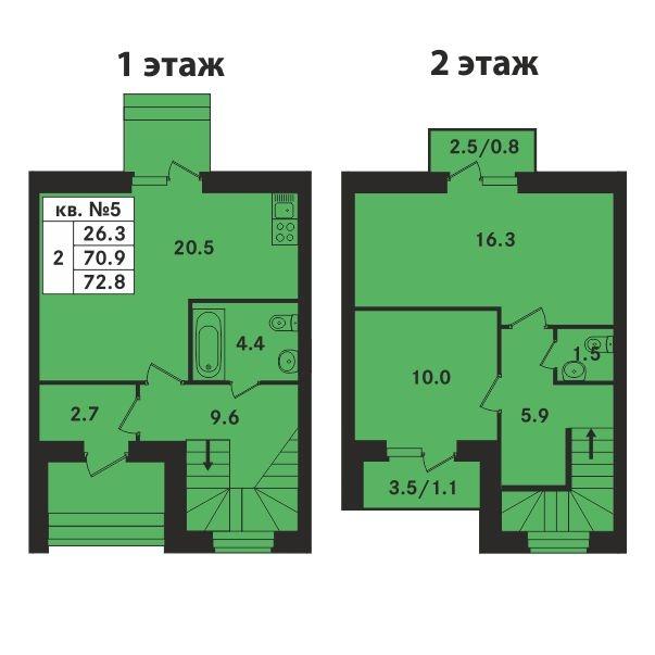 Планировка Двухкомнатная квартира площадью 72.8 кв.м в ЖК «Ропшинский квартал»