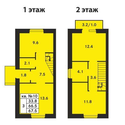 Планировка Трёхкомнатная квартира площадью 67.5 кв.м в ЖК «Ропшинский квартал»