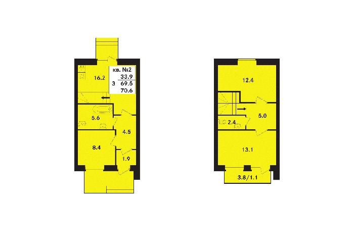 Планировка Трёхкомнатная квартира площадью 70.6 кв.м в ЖК «Ропшинский квартал(руки)»