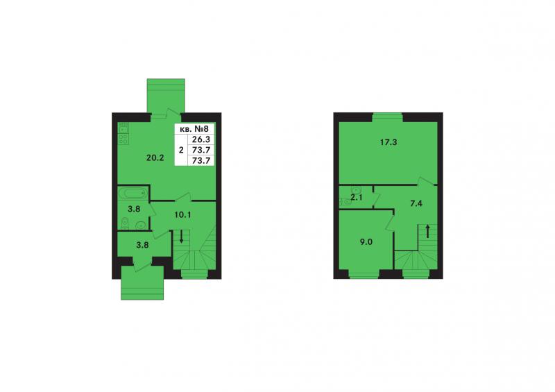 Планировка Двухкомнатная квартира площадью 71.9 кв.м в ЖК «Ропшинский квартал(руки)»