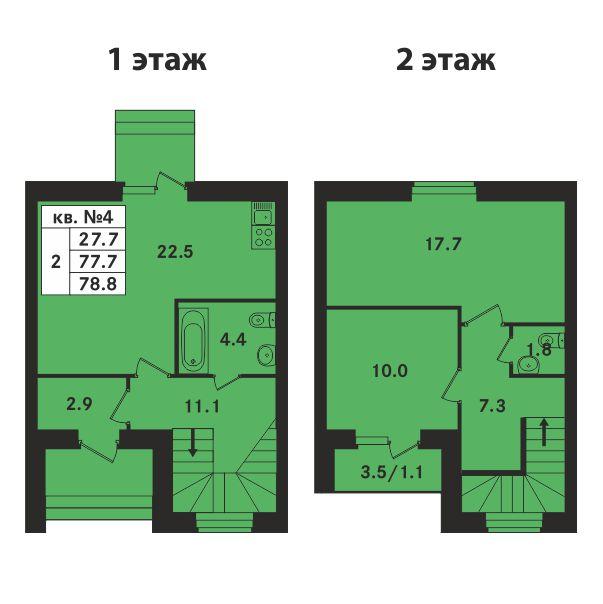 Планировка Двухкомнатная квартира площадью 74.8 кв.м в ЖК «Ропшинский квартал»