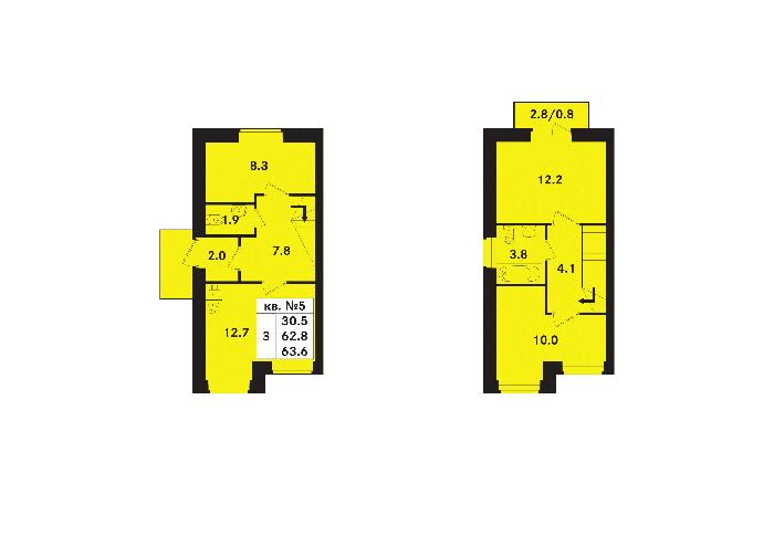 Планировка Трёхкомнатная квартира площадью 63.6 кв.м в ЖК «Ропшинский квартал(руки)»