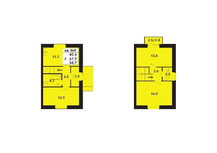 Планировка Трёхкомнатная квартира площадью 68.7 кв.м в ЖК «Ропшинский квартал(руки)»