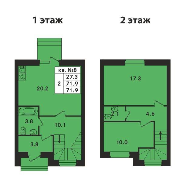 Планировка Двухкомнатная квартира площадью 71.9 кв.м в ЖК «Ропшинский квартал»