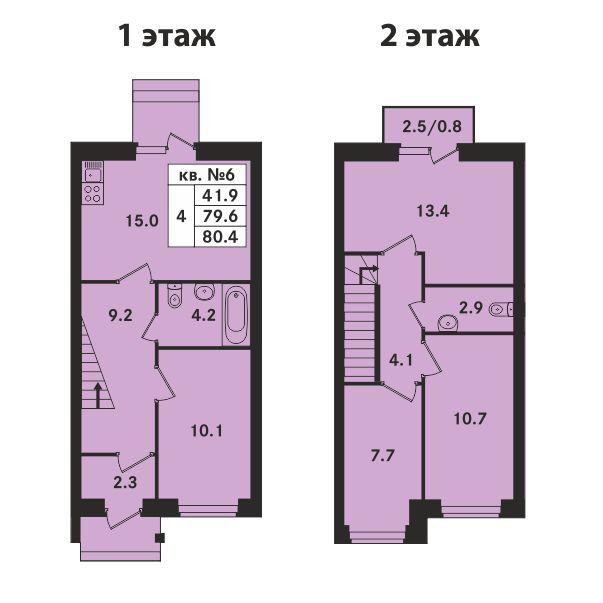 Планировка Четырёхкомнатная квартира площадью 80.4 кв.м в ЖК «Ропшинский квартал»