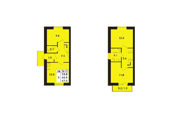 Планировка Трёхкомнатная квартира площадью 67.5 кв.м в ЖК «Ропшинский квартал(руки)»