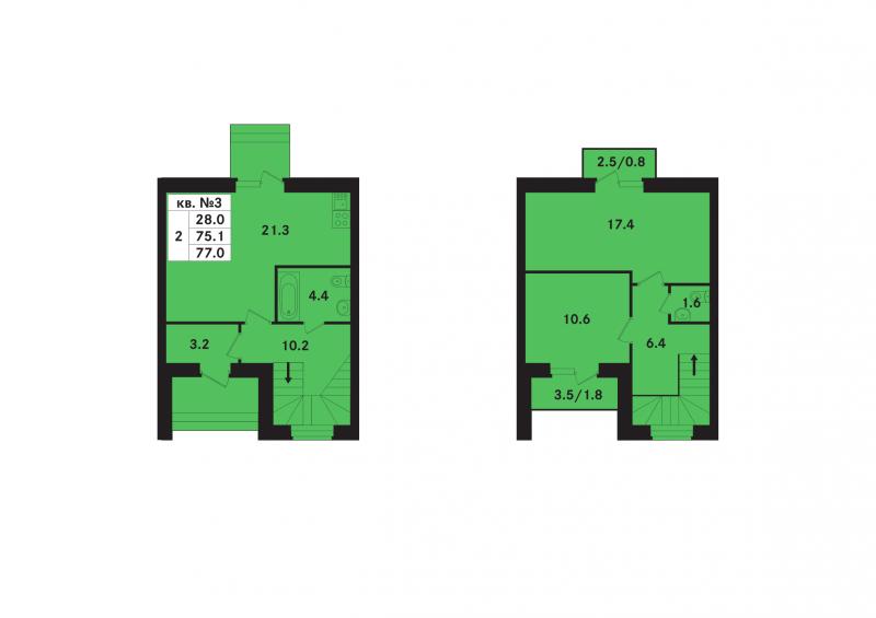 Планировка Двухкомнатная квартира площадью 77.5 кв.м в ЖК «Ропшинский квартал(руки)»