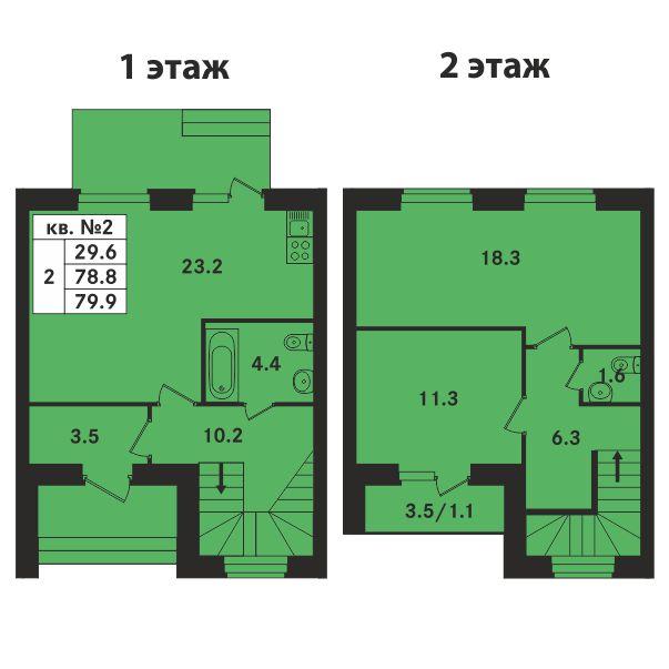 Планировка Двухкомнатная квартира площадью 79.9 кв.м в ЖК «Ропшинский квартал»