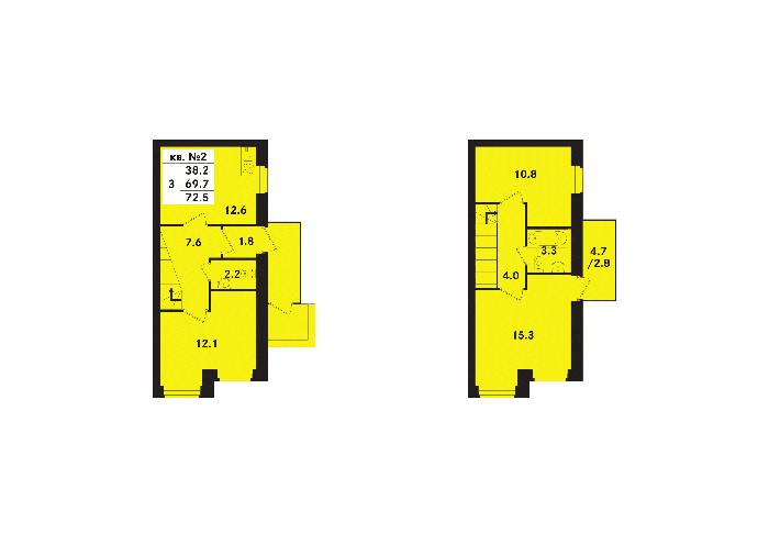 Планировка Трёхкомнатная квартира площадью 71.1 кв.м в ЖК «Ропшинский квартал(руки)»