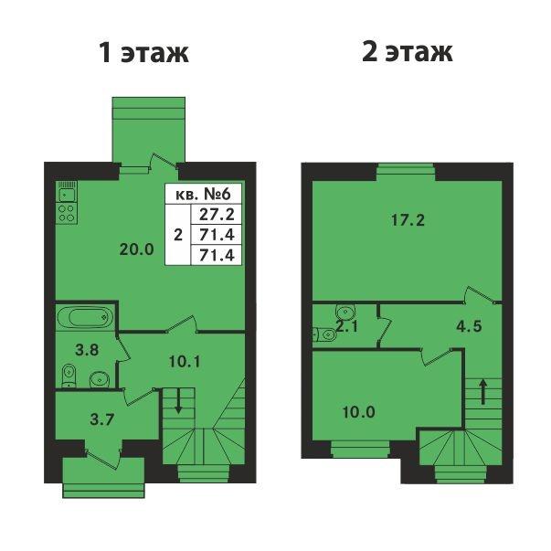 Планировка Двухкомнатная квартира площадью 71.4 кв.м в ЖК «Ропшинский квартал»