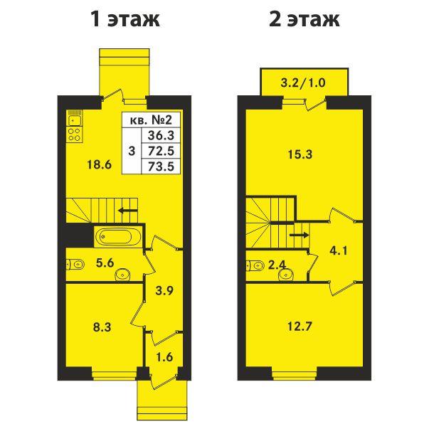 Планировка Трёхкомнатная квартира площадью 73.5 кв.м в ЖК «Ропшинский квартал»