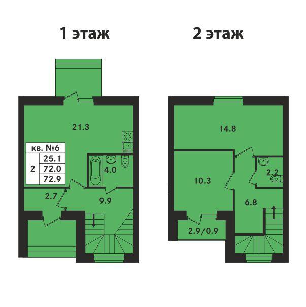 Планировка Двухкомнатная квартира площадью 72.9 кв.м в ЖК «Ропшинский квартал»