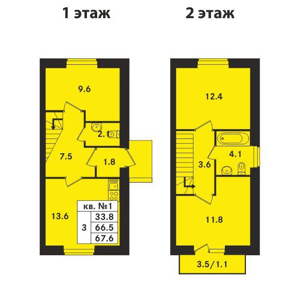 Планировка Трёхкомнатная квартира площадью 67.6 кв.м в ЖК «Ропшинский квартал»